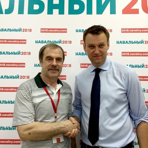 Координатор штаба Валентин Болдышев с Алексеем Навальным